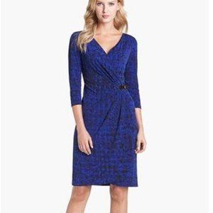 Tahari Print Jersey Faux Wrap Dress